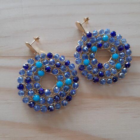 Aretes rosetón azul