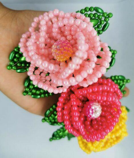 Tocado de 3 flores rellenas – modelo Dulce encanto
