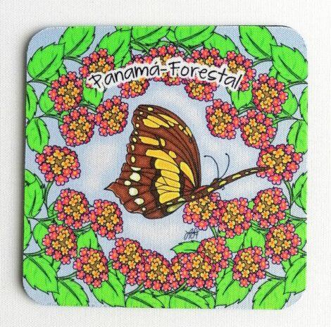 Portavaso de Goma Antideslizante – Panamá Forestal – Lantana y Mariposa Big Swallowtail