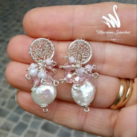 Aretes de Perla Cultivada y Cristales