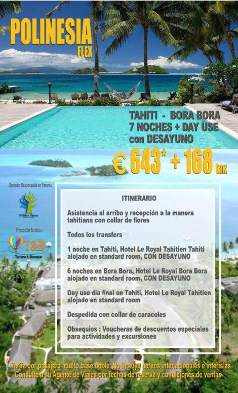 Polinesia Flex – Promo viajando desde 01 Nov. 2020 al 31 Mar. 2021