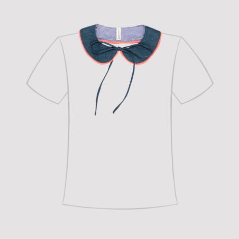 Cuello de quita y pon azul con borde fluor en línea de camiseta