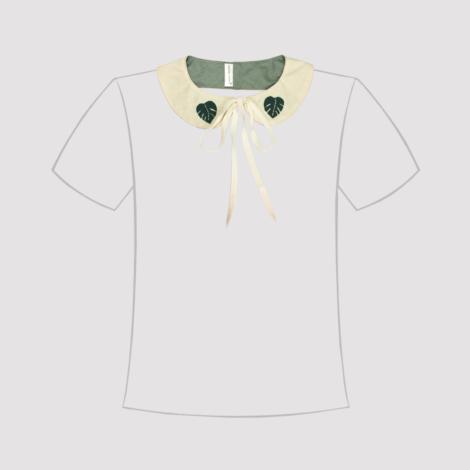 cuello de quita y pon en manta sucia con forro, lazo de cierre y monsteras en linea de camiseta