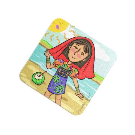 Portavaso de Goma Antideslizante – Yo Soy Panamá – Etnia Guna – Souvenirs de Panamá
